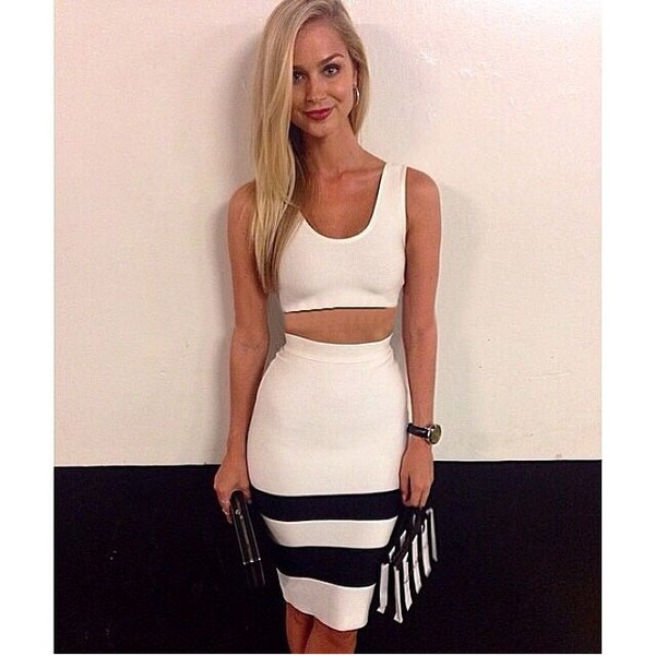 skirt black and white crop tops two-piece two-piece purse clutch stripes top tank top