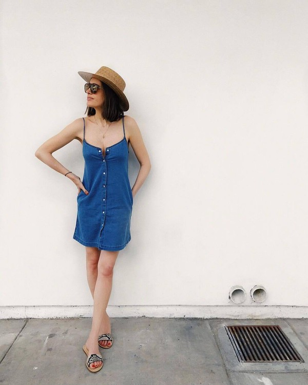 hat dress short dress mini dress blue dress slide shoes sunglasses