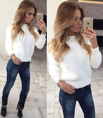 sweater white knitwear knitted sweater white sweater cute sweaters cute white sweater long sleeves winter sweater holiday gift christmas fall sweater urban girly clothes trendy fashionista fashion girly wishlist tumblr clothes tumblr girl instagram blonde hair denim skinny jeans boots high heels dope beige love cute cozy sweater