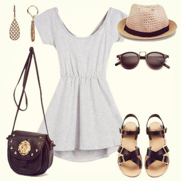 dress grey golden earrings black bag hat grey dress summer summer outfits earrings bag handbags handbag fashion handbags sunglasses round sunglasses retro round sunglasses flat sandals