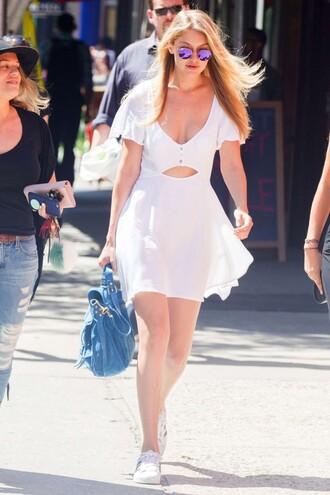 dress white dress summer dress gigi hadid sneakers cut-out dress