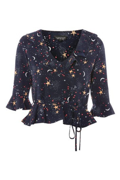 Topshop top moon navy print blue
