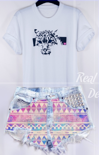 t-shirt white crewneck tiger pink shorts summer outfits high waisted shorts aztec streetstyle studs denim shorts denim colorful animal impression14.com