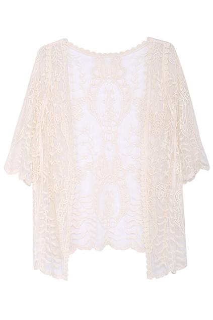 ROMWE | ROMWE Floral Lace Asymmetric Apricot Cardigan, The Latest Street Fashion