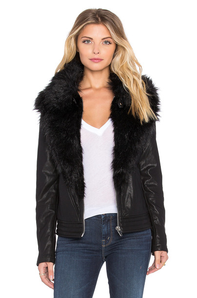 BLANKNYC Jacket with Faux Fur Collar in black