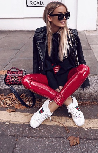 pants red vinyl vinyl jeans high waist pants red vinyl pants skinny pants red high waist vinyl pants