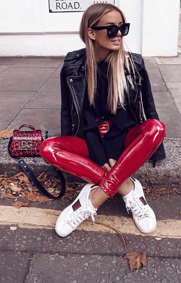 Pants Red Vinyl Vinyl Jeans High Waist Pants Red Vinyl