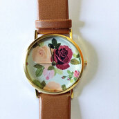jewels,floral,floral watch,watch,vintage style,victorian,leather watch,jewelry,fashion,style,accessories