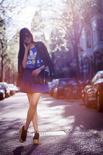 a dash of fash t-shirt skirt sunglasses bag jacket jewels shoes