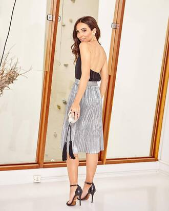 skirt tumblr silver silver skirt midi skirt metallic pleated skirt pleated skirt party outfits top black top open back backless top backless metallic clutch clutch sandals sandal heels high heel sandals shoes jewels
