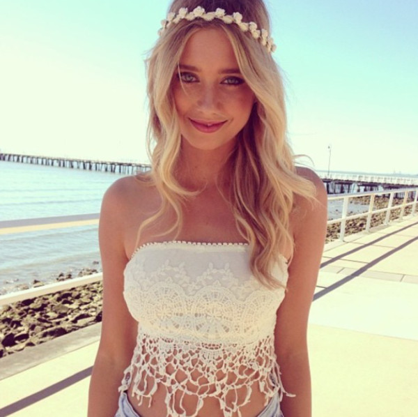 shirt crochet crop top white crochet top