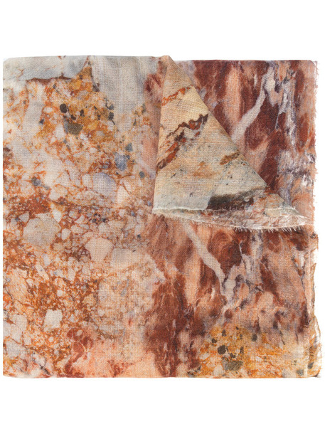 faliero sarti women scarf silk wool yellow orange marble