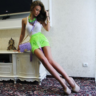 skirt neon lime skirt high waisted skirt fluro yellow