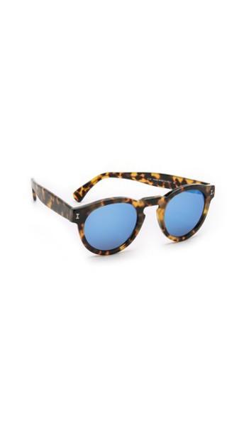 Illesteva Leonard Mirrored Sunglasses - Tortoise/Blue