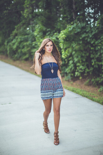 romper print strapless strapless romper romperprint pattern nacy navy blue aztec mix and match summer fall outfits transitional pieces