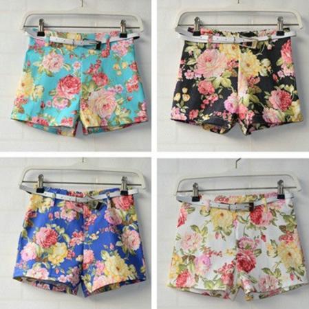 Women's Flowers Floral Print Shorts High Waist Mini Short Pants Hot Pants Belt | eBay