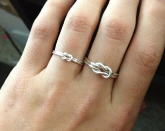 687d1ef4a92d6 Rose Gold, Gold, Sterling INFINITY KNOT LOVE Ring - Sterling Silver knot  ring Nautical ring - Promise ring - Purity ring - sailor knot