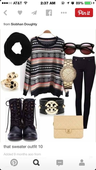 black jeans black boots sunglasses black and orange tribal sweater black scarf