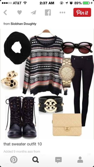 black jeans black scarf black and orange tribal sweater sunglasses black boots