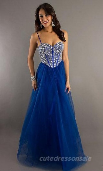 Tulle Corset Bodice Prom Dresses A-Line Royal Blue Prom Dresses 05008