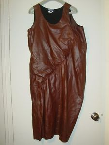 JUNYA WATANABE Comme des Garcons brown leather slouchy dress S NEW
