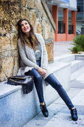 shoes and basics,blogger,jewels,sandro,grey sweater,stars,knitted cardigan,fringed bag,metallic