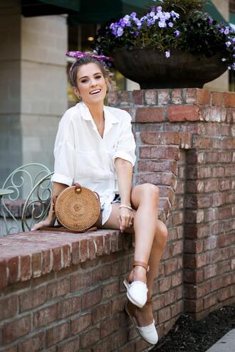 thedaintydarling blogger shirt shorts shoes bag jewels round bag espadrilles summer outfits