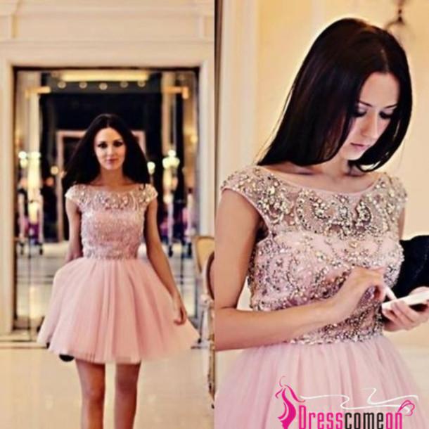 dress, ball gowns, ball gown dress, scoop neck pink short dress ...