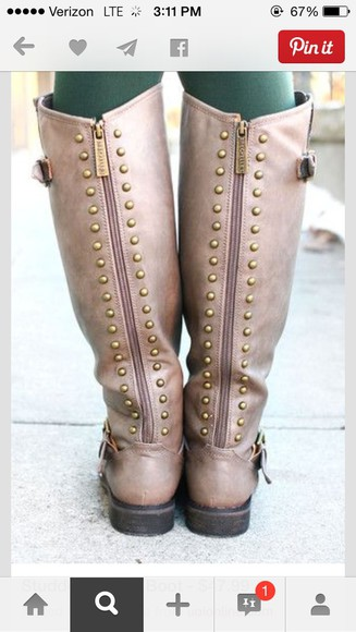 studs shoes boots riding boots, taupe boots, heeled boots,