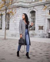 coat,wool coat,checkered,long coat,jeans,high waisted jeans,blouse,sock boots,high heels boots,handbag