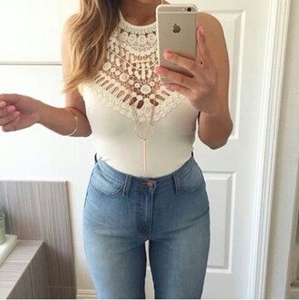 top white top pattern lace top boho light blue jeans jeans high waisted jeans pants