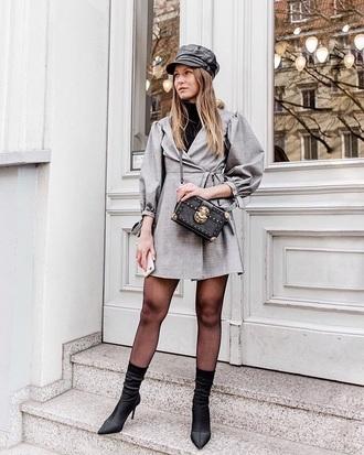 dress boots sock boots black boots hat wrap dress grey dress mini dress long sleeve dress long sleeves tights fisherman cap