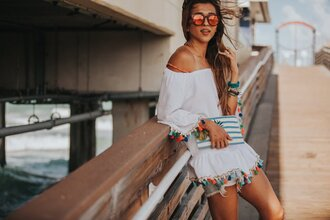 cuppajyo blogger top shorts jeans bag sunglasses shoes jewels