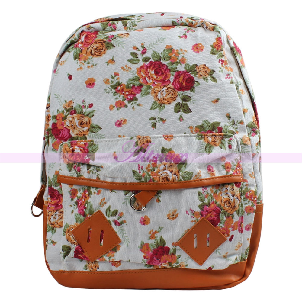 Romance womens flower floral canvas backpack schoolbag book bag travel backpack