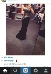 dress,black,gem,diamons,sparkle,open back,prom,prom dress,beautiful