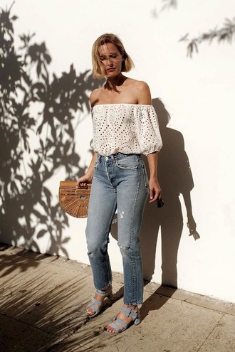 le fashion image blogger top bag jeans eyelet top