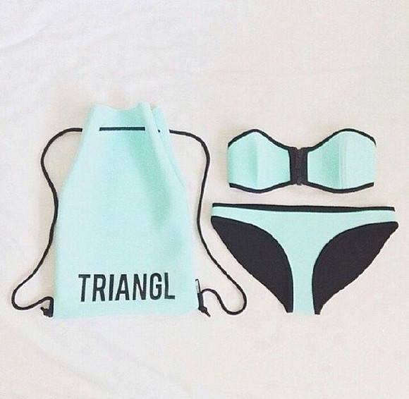 swimwear bandeau bikini girls tiffany blue turqoise triangl tumblr tumblr girl tumblr bikini beach