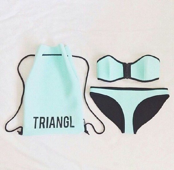 swimwear tiffany blue turqoise triangl girl tumblr tumblr girl tumblr bikini bikini bandeau beach