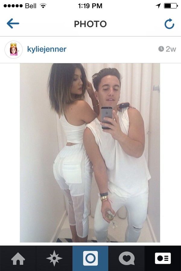 pants kylie jenner white see through top