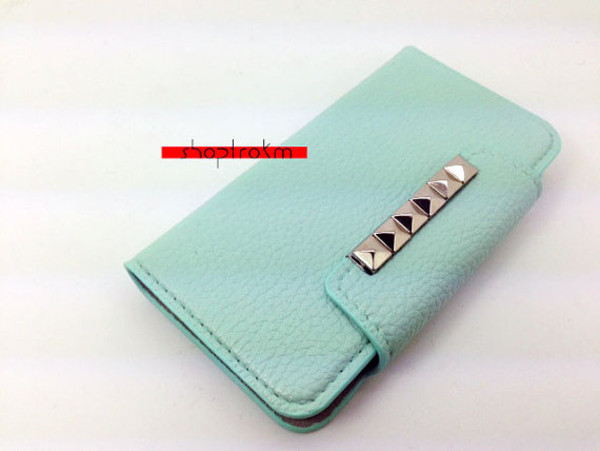 bag mint silver studs phone cover wallet phone case wallet htc 1 note 2 case iphone 5 case galaxy s3 case galaxy s4 case
