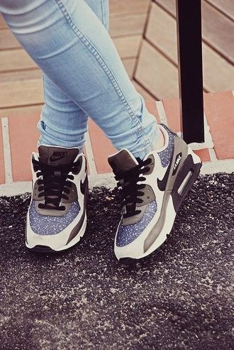 shoes sneakers multicolor tennis shoes nike sneakers air max 90 poland beautiful nike air max 90 nike air nike blue white grey black