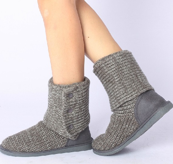 Winter Knit 3 Buttons Sweater Crochet Faux Suede Flat Boots