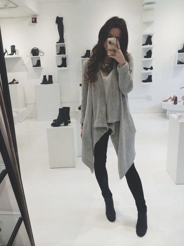 Cardigan: grey sweater, large cardigan, knitted cardigan, knitwear ...