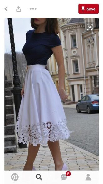 skirt white long floral pattern