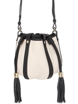 bag bucket bag leather milk white