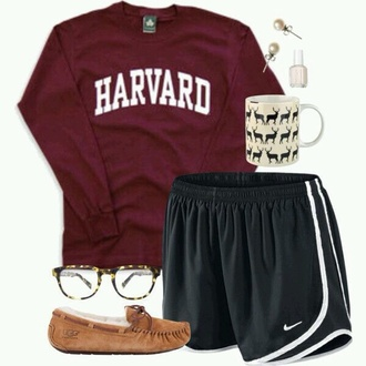 sweater harvard burgundy cute lounge preppy burgundy sweater