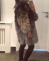 coat,big fur coat,long lenth,long sleeves,ombre,black,grey,faux fur,jacket
