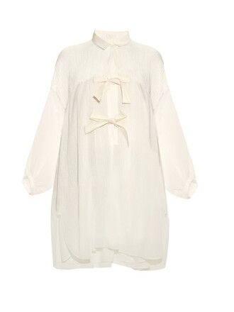 shirt bow cotton white top