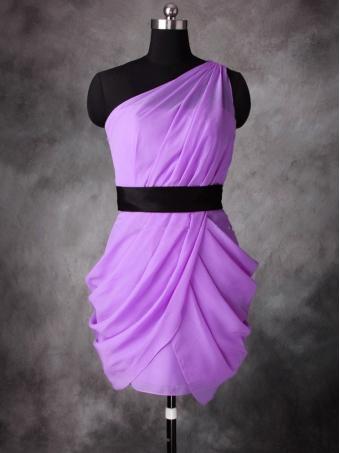 2013 A-line One-shoulder Lilac Chiffon Short bridesmaid dresses/Cocktail Dresses [D0085] - $136.99 : 24inshop