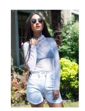 top,mesh top,white,shorts,polo shirt